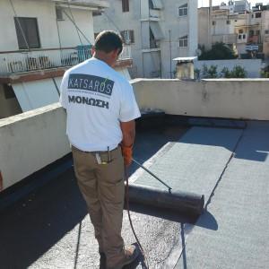 Στεγάνωση δώματος με ασφαλτόπανο – Αθήνα (Παλαιό Φάληρο)
